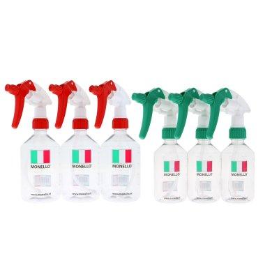 Lege fles met maatverdeling en sprayer 250/500ml combi 6-pack
